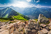 Trail in the Tatras Mountains at sunny day