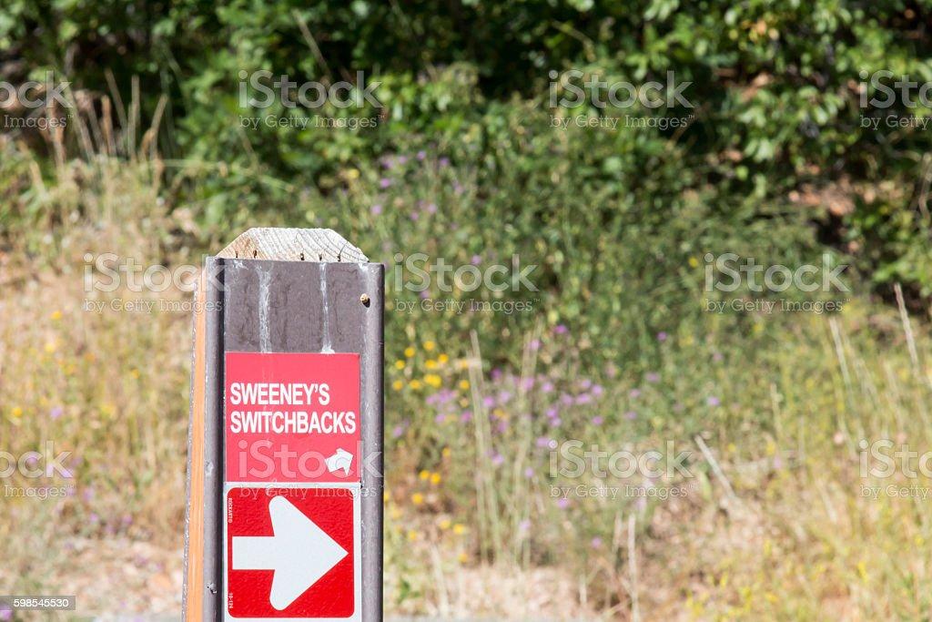 Trail marker for Sweeney's Switchbacks in Park City, Utah stock photo