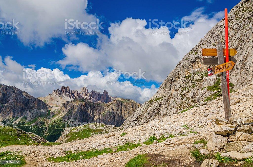 Trail marker on Croda Negra, Dolomites Italy stock photo