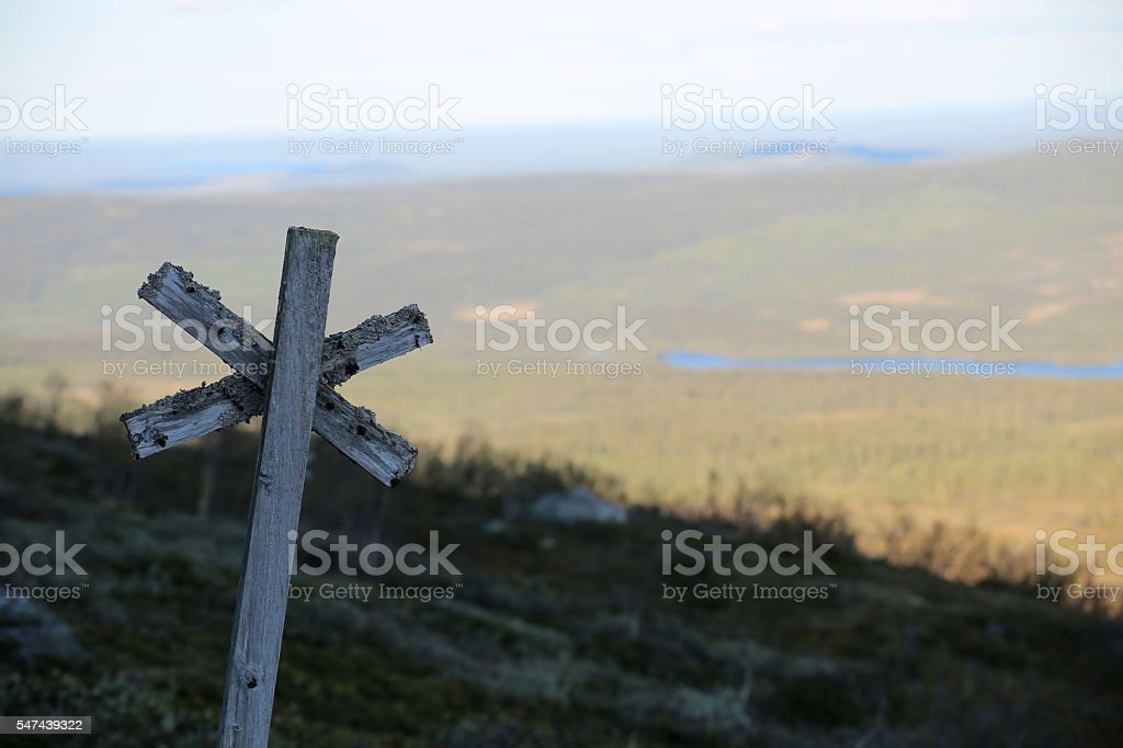 Trail marking at the mountain Ansaett in Sweden stock photo