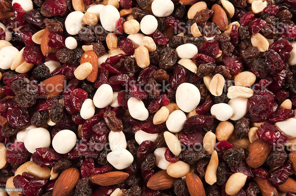 Trail Mix of Nuts, Raisins, Cranberries, and Yogurt Covered Fruit stock photo