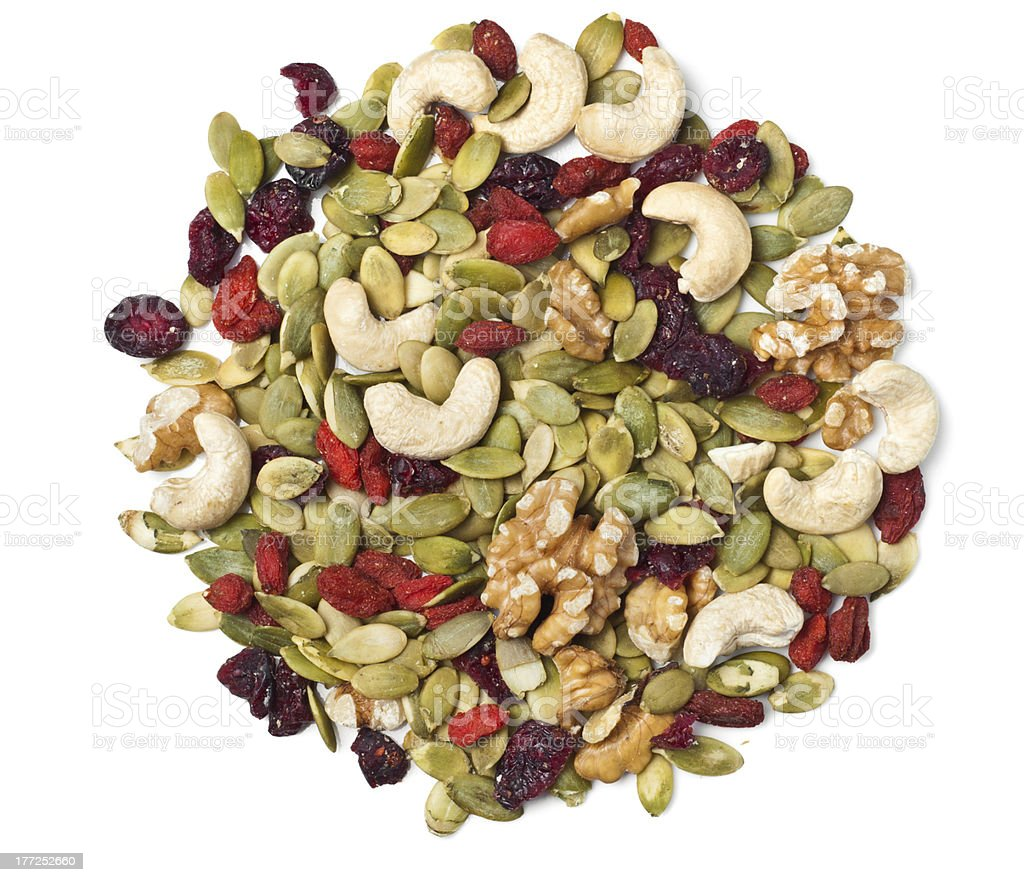Trail mix on white stock photo