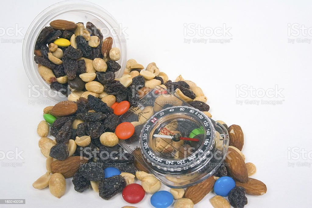 Trail Mix Oops With Compass stock photo