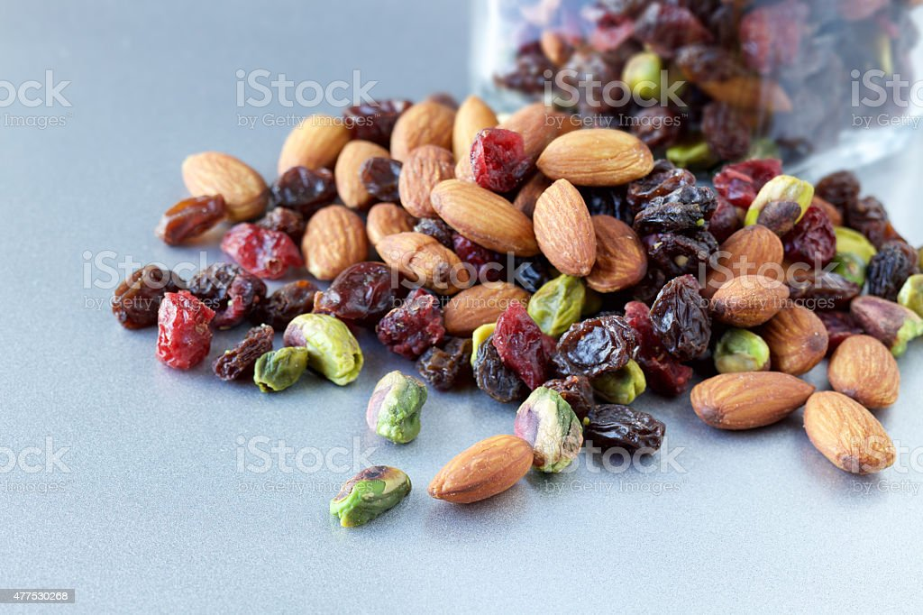 Trail mix snack on steel countertop stock photo