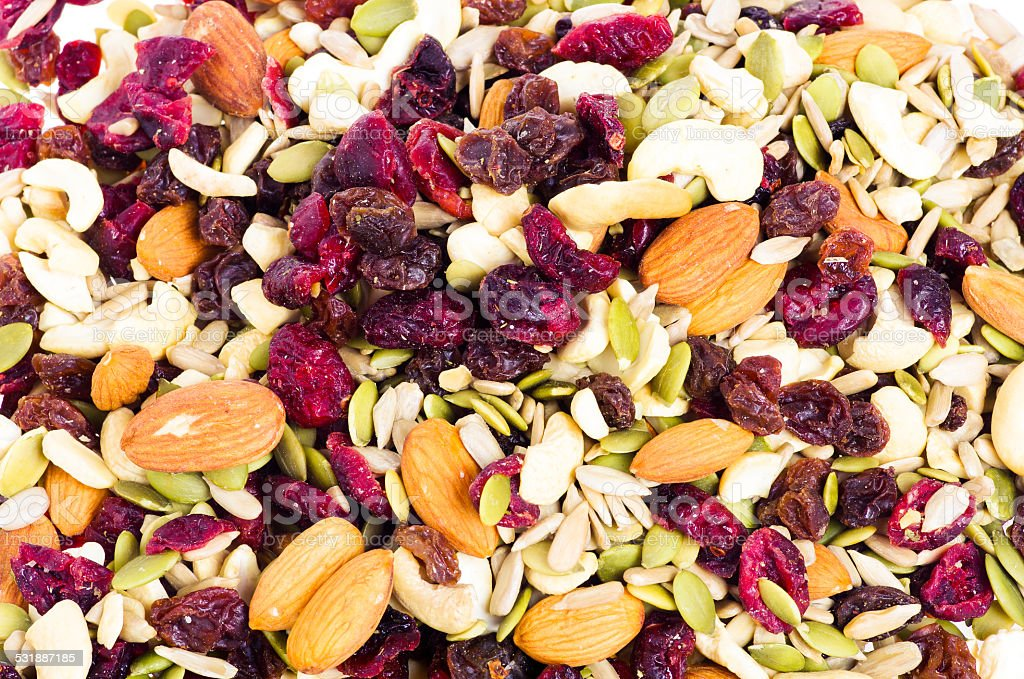 Trail mix with dried fruit stock photo