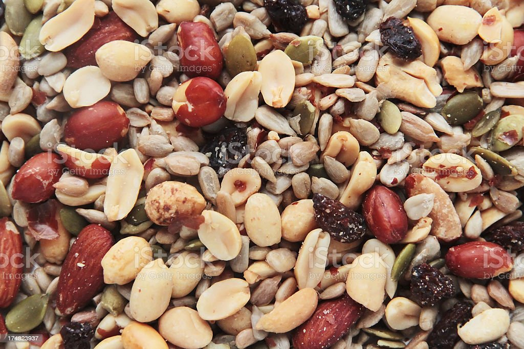 Trail Mix with Raisins Background royalty-free stock photo