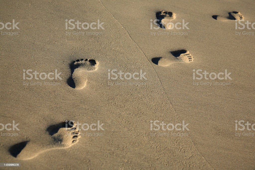 Trail of footprints in sea sand - copy space royalty-free stock photo