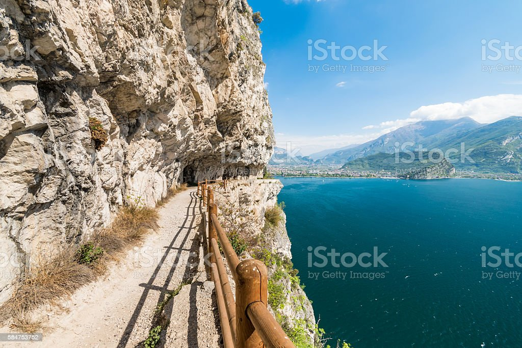 Trail of Ponale in Riva del Garda, Italy. stock photo
