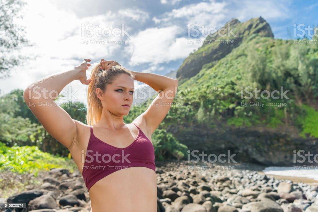 Trail Runner Along The Ocean stock photo