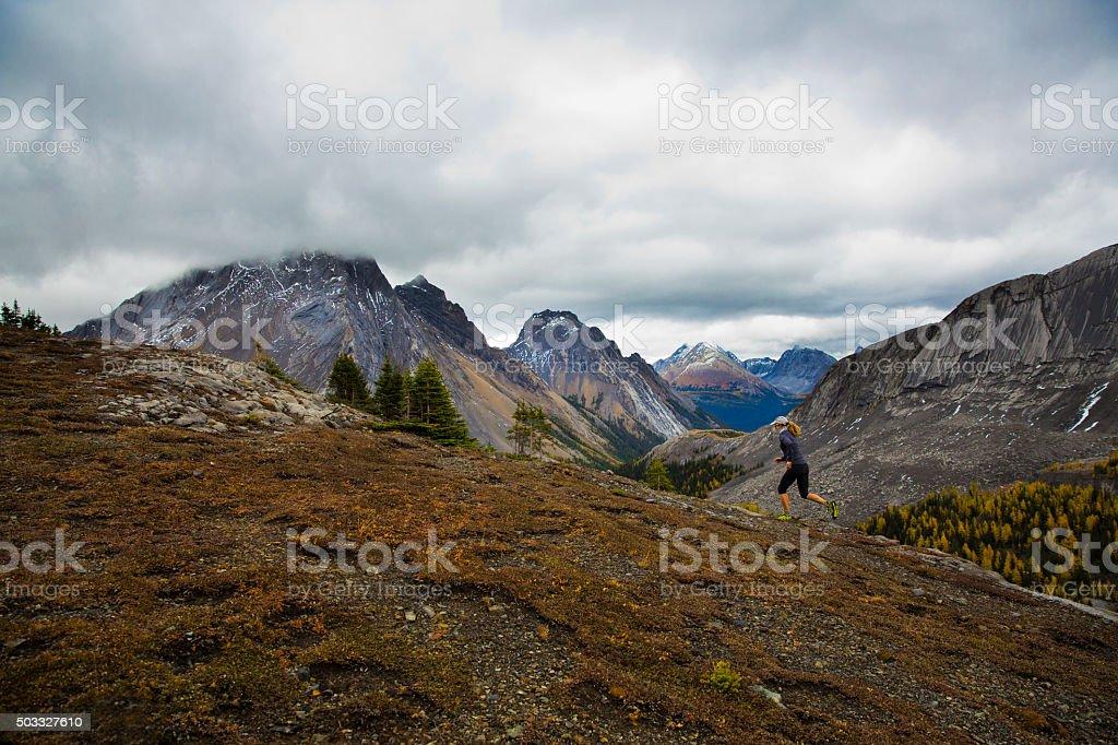 Trail Runner Mountain Girl stock photo