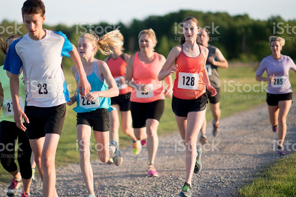 Trail Running a Long Distance Race stock photo