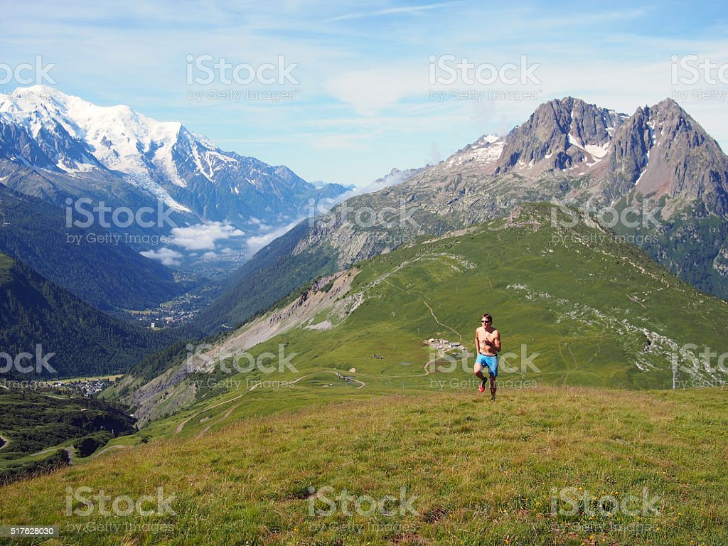 Trail running in Chamonix stock photo