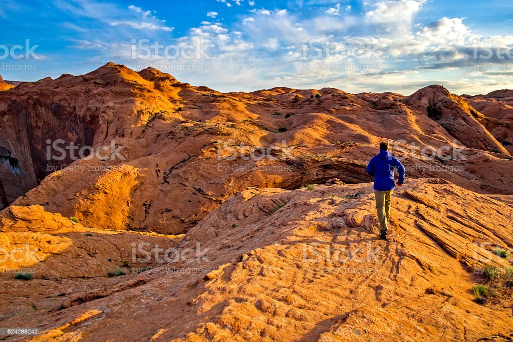 Trail Running in Escalante Petrified Dunes stock photo