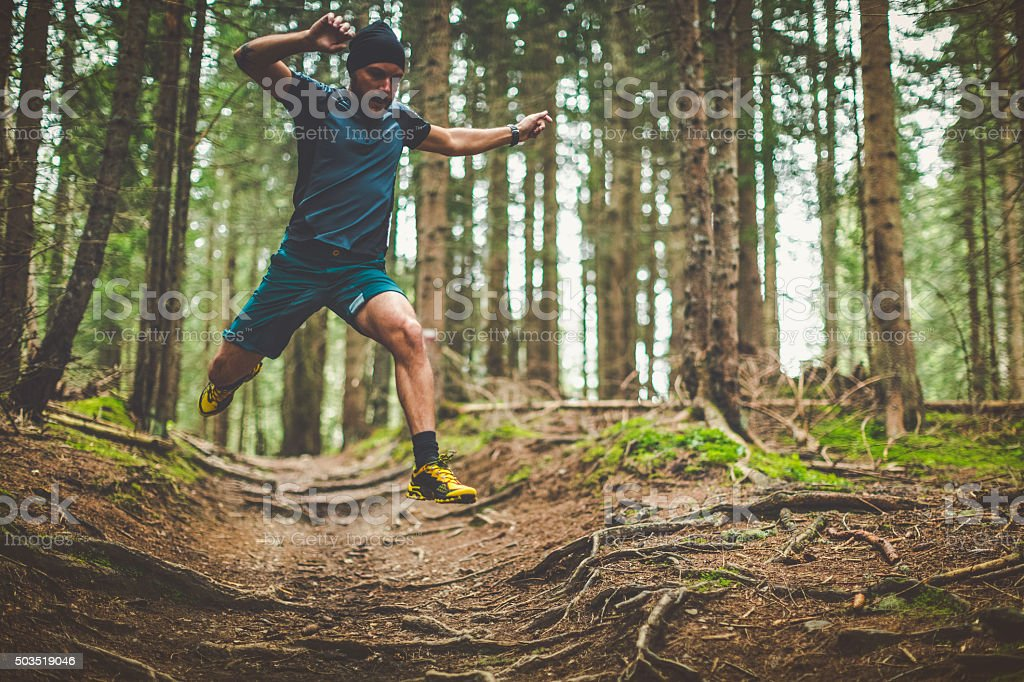 Trail running in the forest: jumping roots stock photo