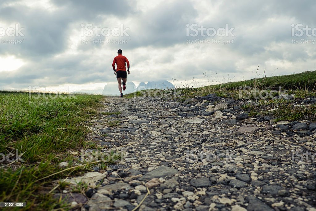 Trail running on the mountains stock photo