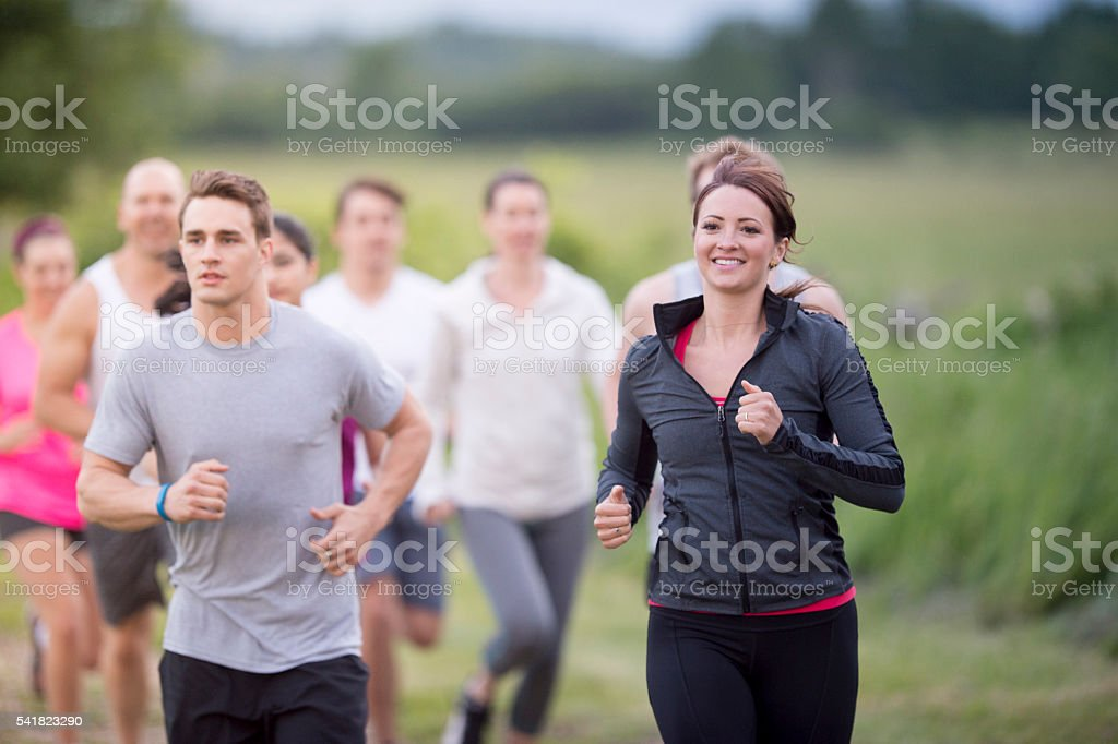 Trail Running Outside stock photo