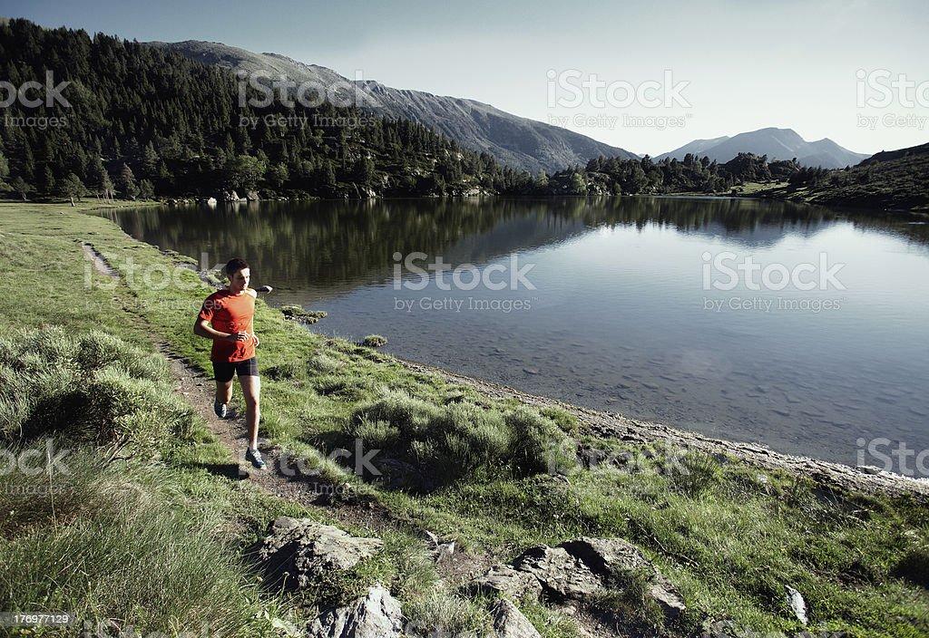 Trail running stock photo