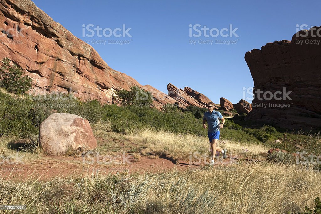 Trail running Red Rocks Park Colorado royalty-free stock photo