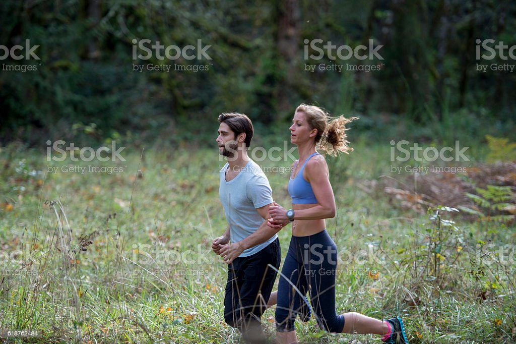 Trail Running Through the Forest stock photo