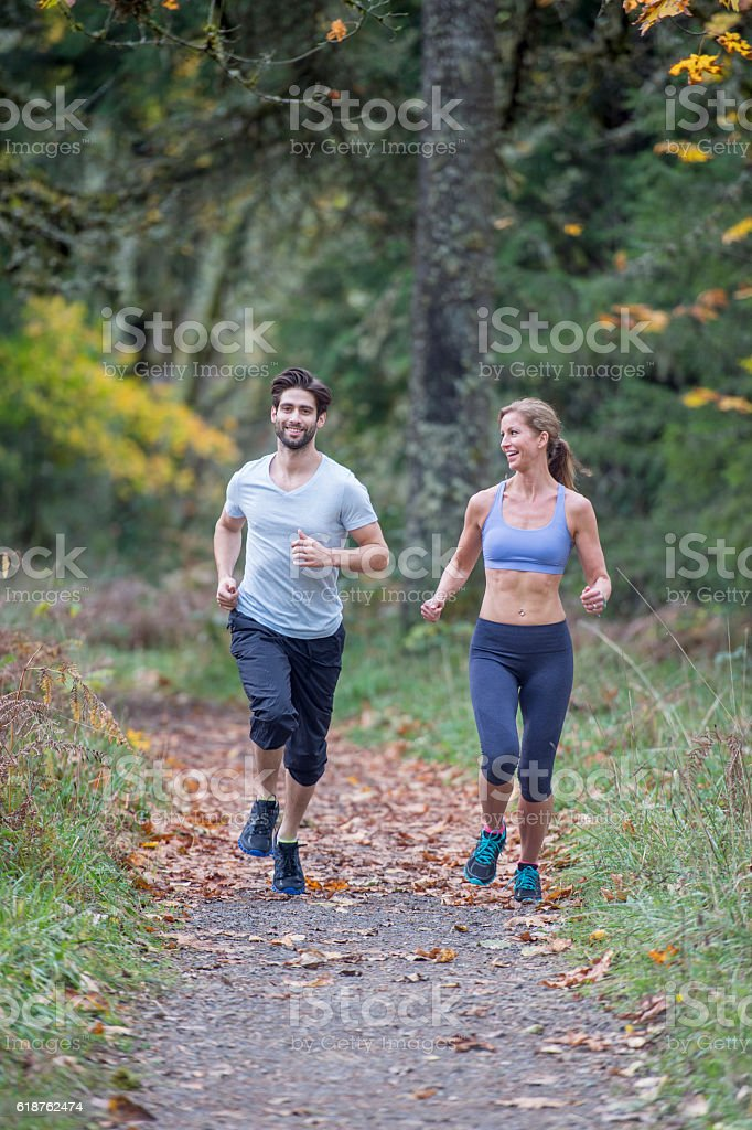 Trail Running Through the Woods stock photo