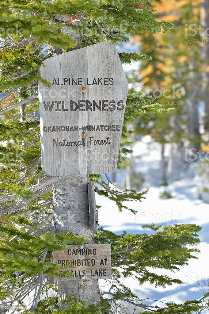 Trail Sign, Alpine Lakes Wilderness stock photo