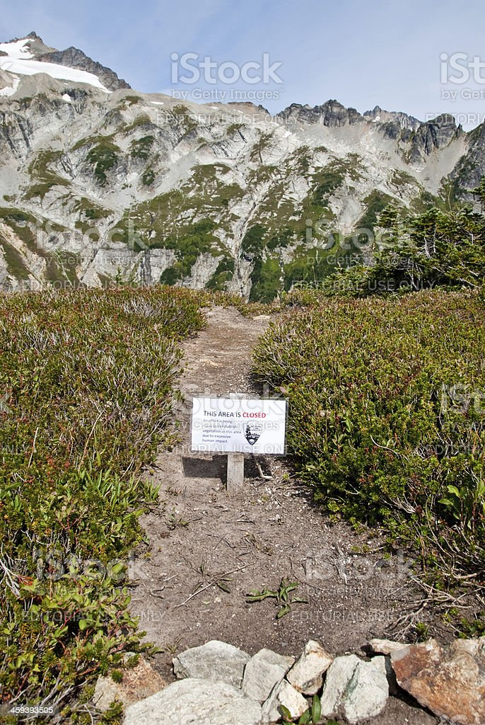 Sign to Advise of Trail Closure royalty-free stock photo