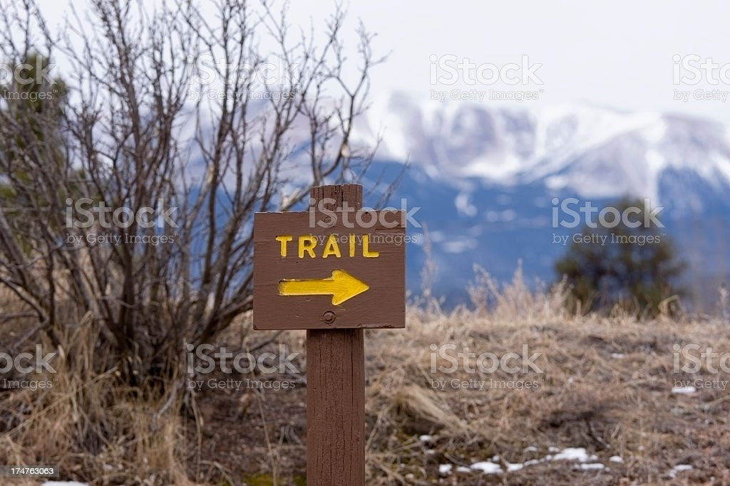 Trail Sign in the Lovell Gulch Hiking Area stock photo