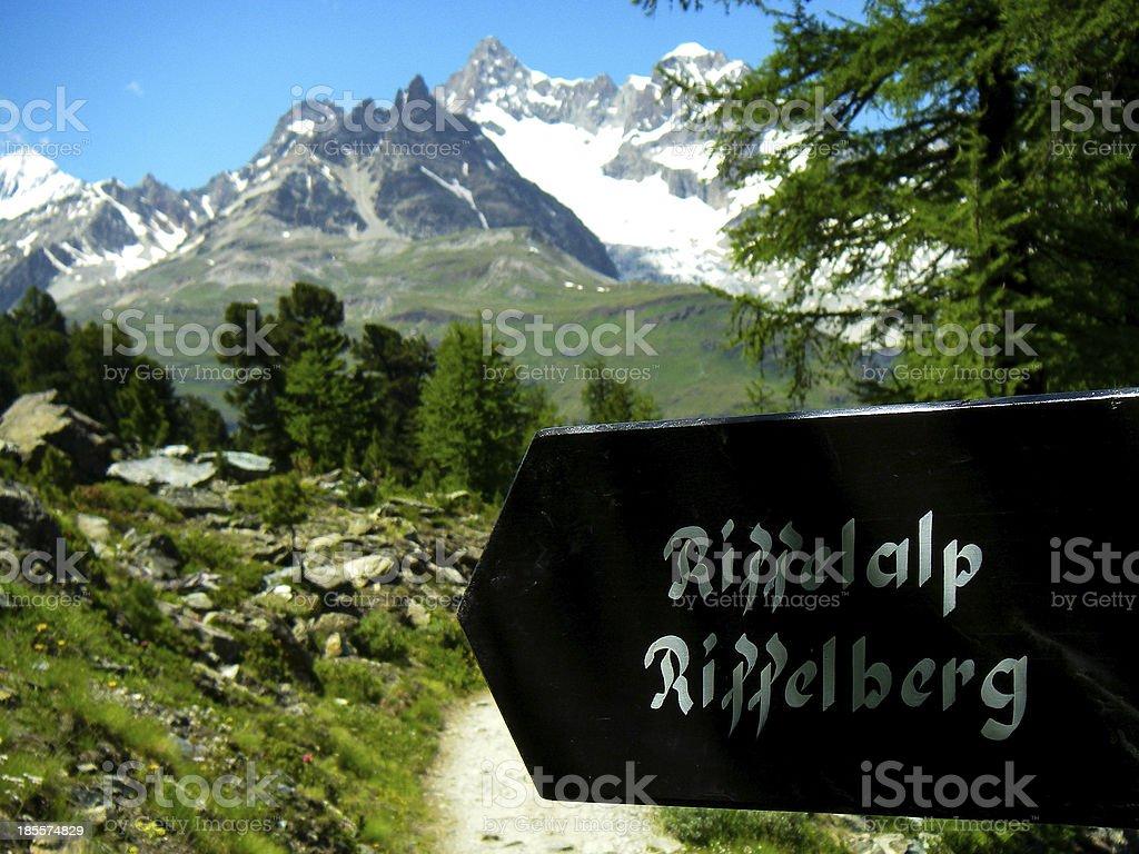 Trail sign near village of Riffelalp Zermatt Switzerland stock photo