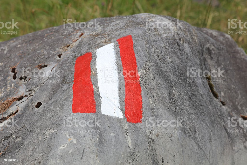 Trail sign painted on a Rock. Lech Valley. Austria stock photo
