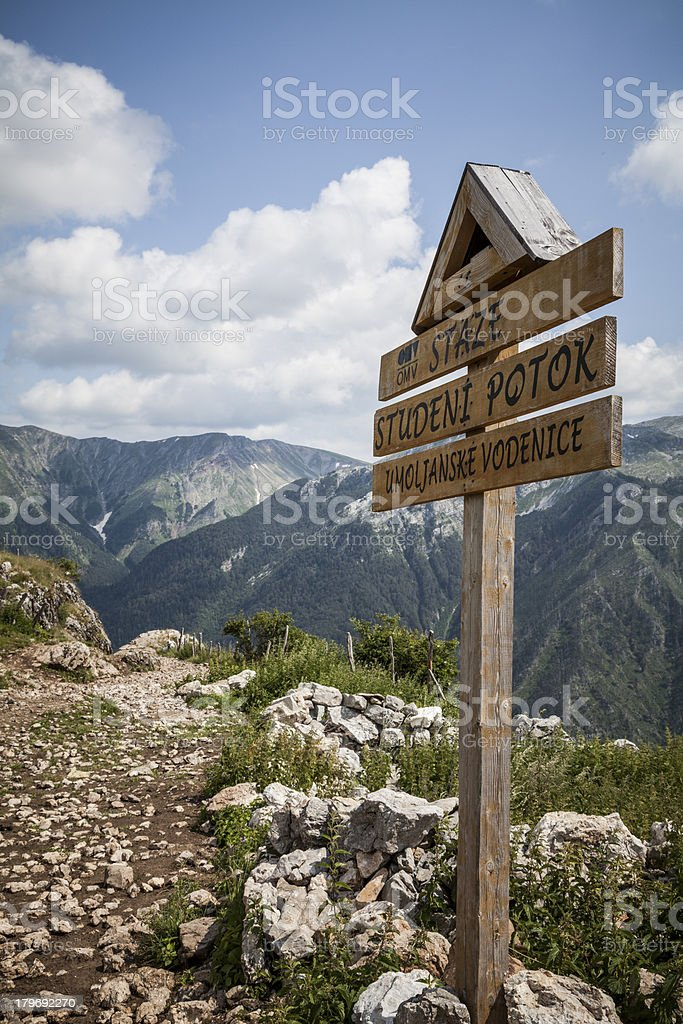 Trail Signpost, Bosnia and Herzegovina royalty-free stock photo