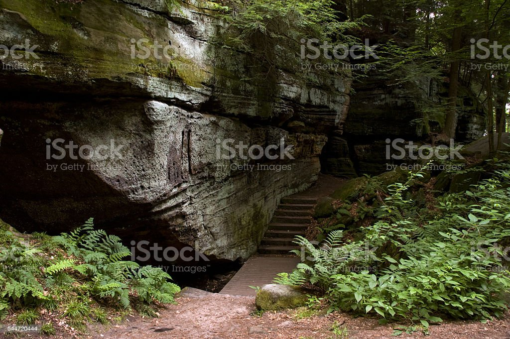 Trail through the Ledges in Cuyahoga Park, Ohio stock photo
