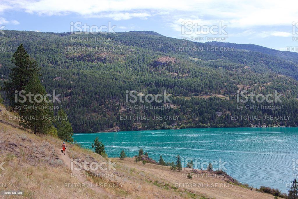 Trail to Cosens Bay, Kalamalka Lake Provincial Park, Vernon, Canada stock photo