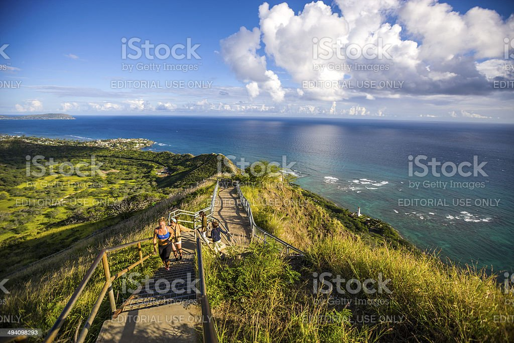 Trail to Diamond Head Crater, Oahu, Hawaii stock photo