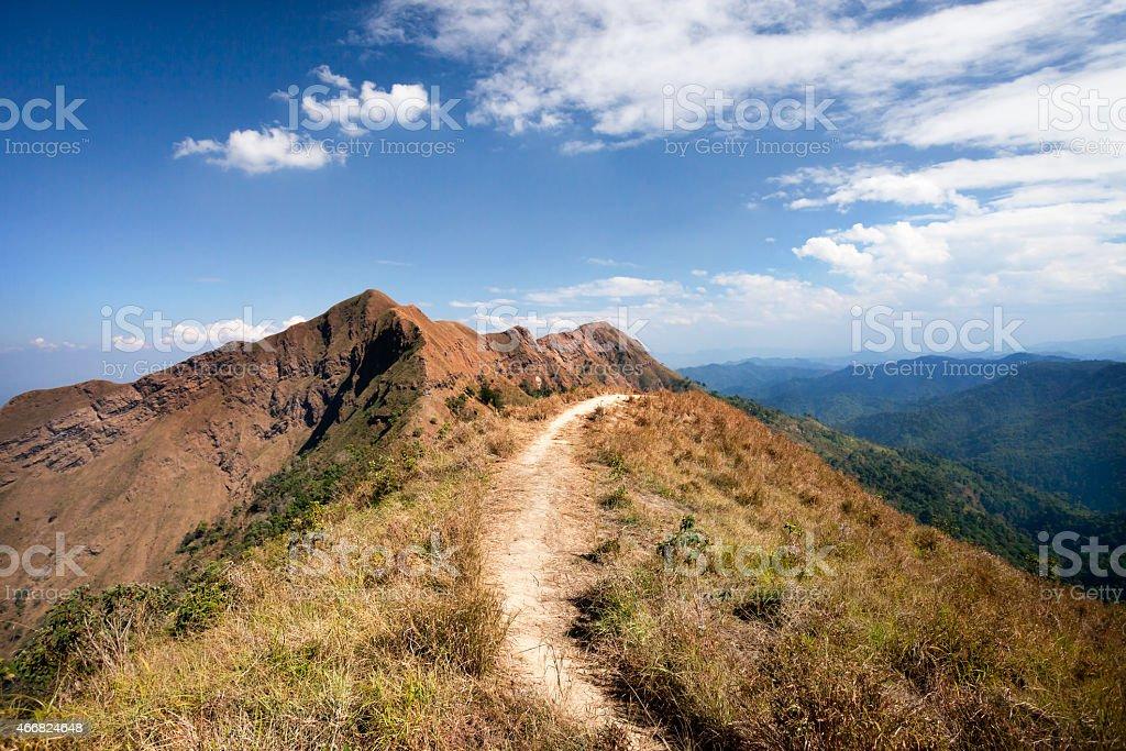 Trail to mountains stock photo