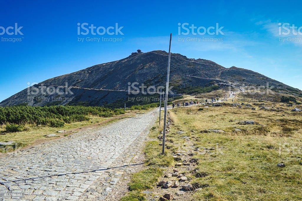 Trail to Sniezka mountain. stock photo