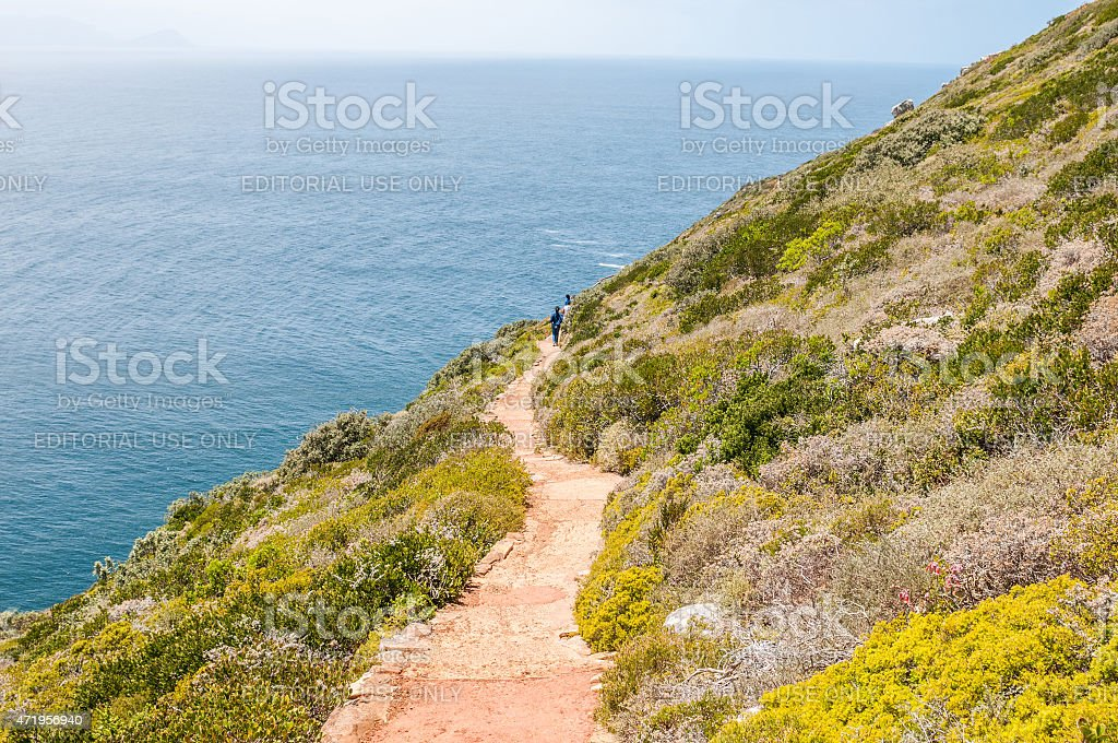 Trail to viewpoint above the new lighthouse at Dias Point stock photo