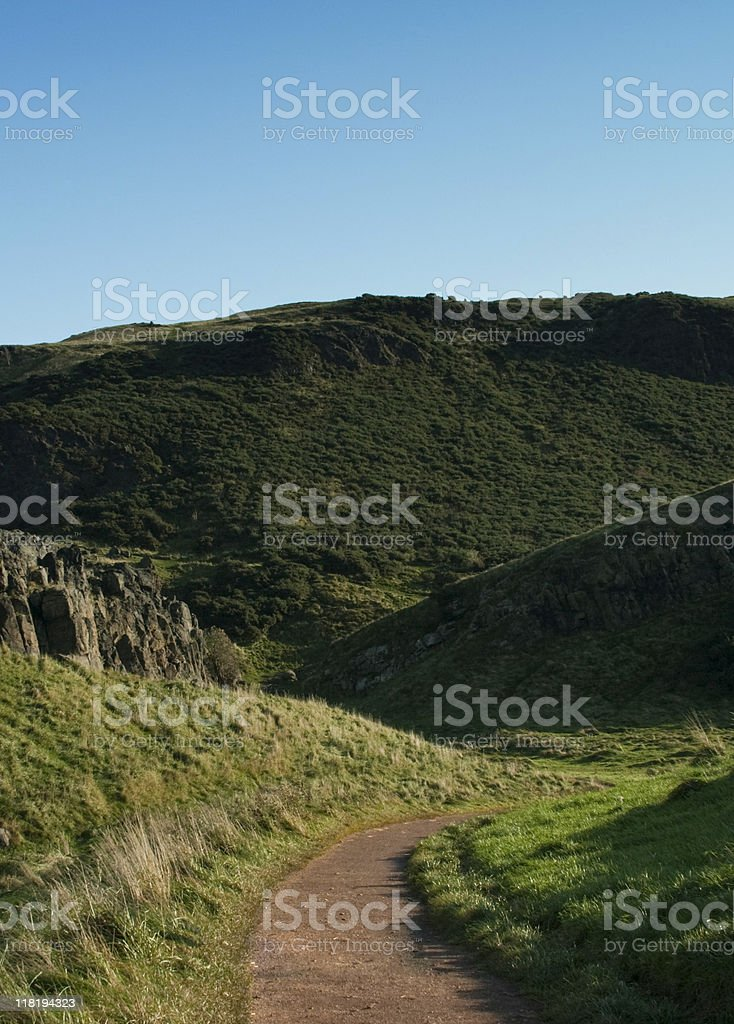 Trail up a large hill. royalty-free stock photo