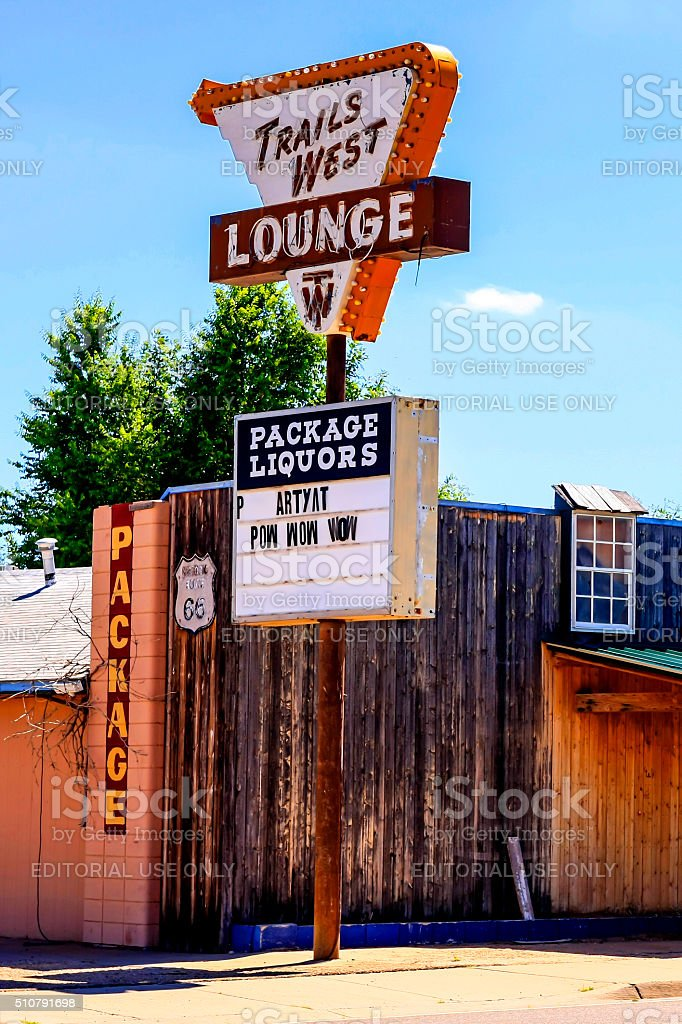 Trail West Lounge sign on Route 66 in Tucumcari NM stock photo