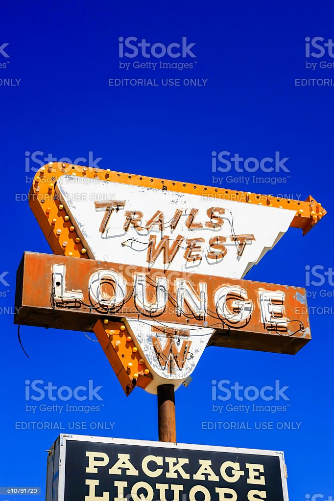 Trail West Lounge sign on Route 66 in Tucumcari, NM stock photo