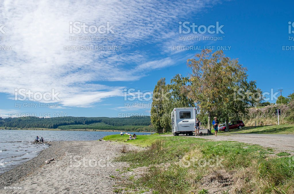 Trailer caravan in Lake Taupo,New Zealand. stock photo