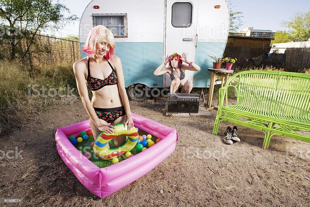 Trailer Girls royalty-free stock photo