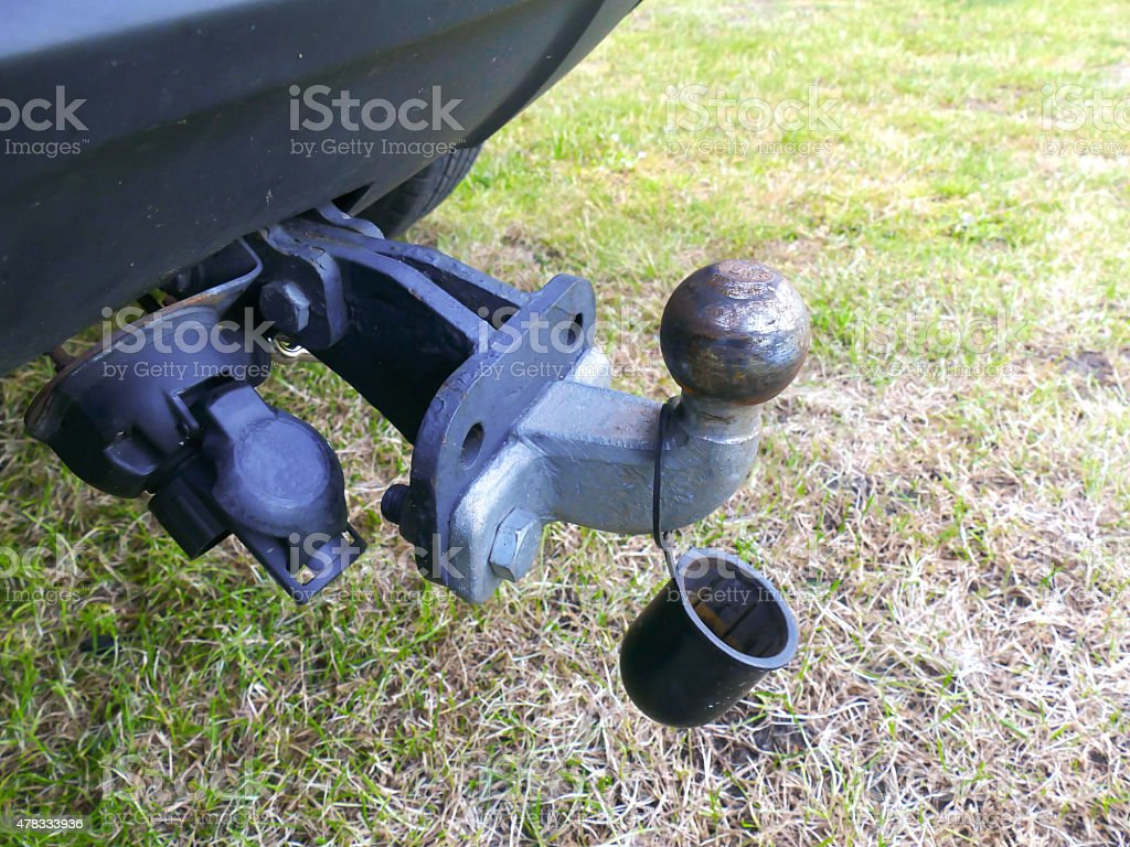 Trailer hitch ball and bar and plastic top stock photo