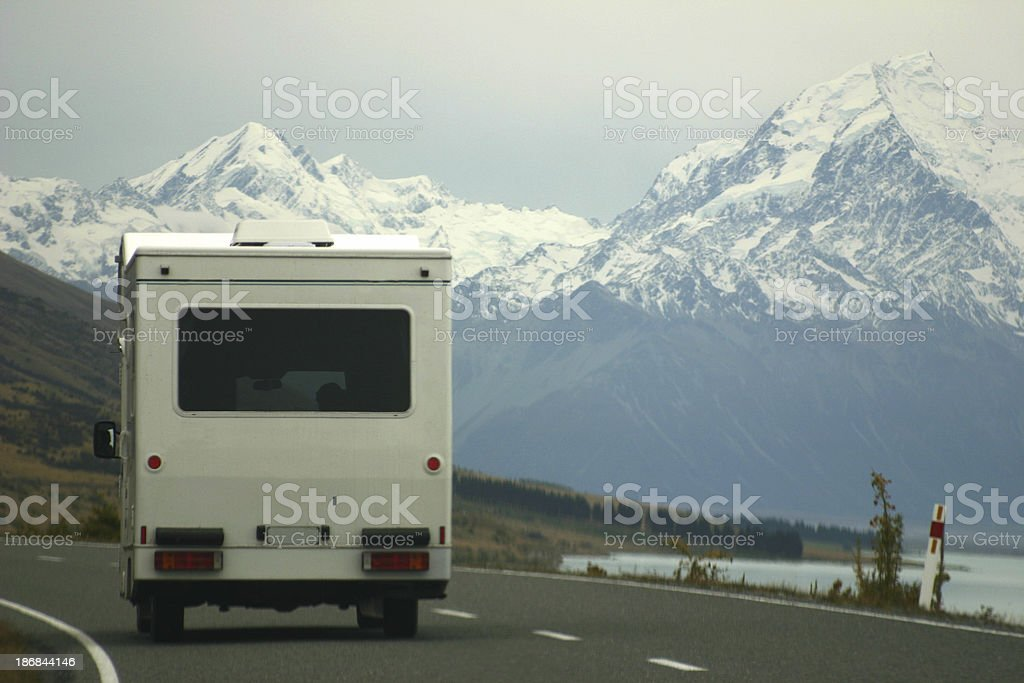 RV trailer on the open road, New Zealand royalty-free stock photo