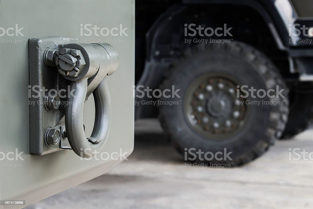 Trailer Rear tow hook for transportation. stock photo