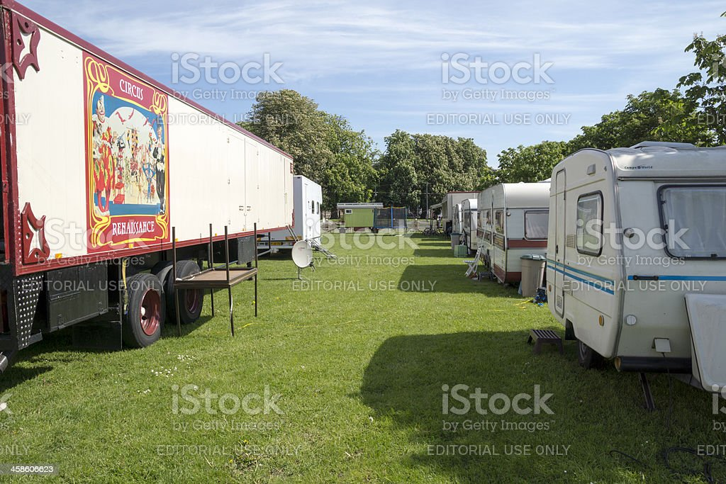 Trailers and caravans in a row on field. royalty-free stock photo