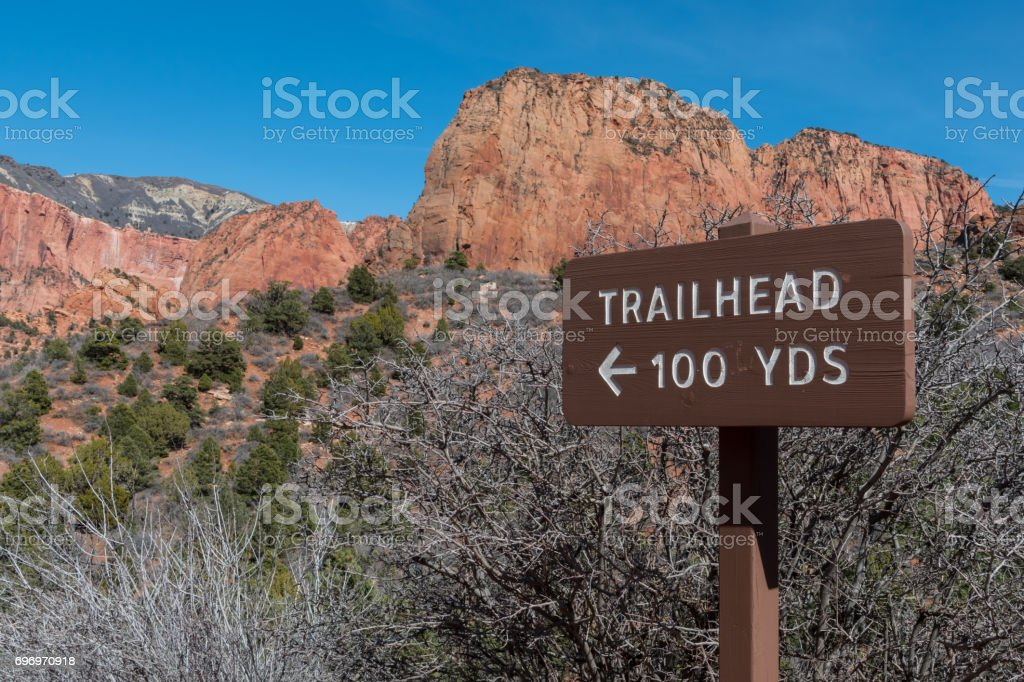 Trailhead 100 Yards Sign stock photo