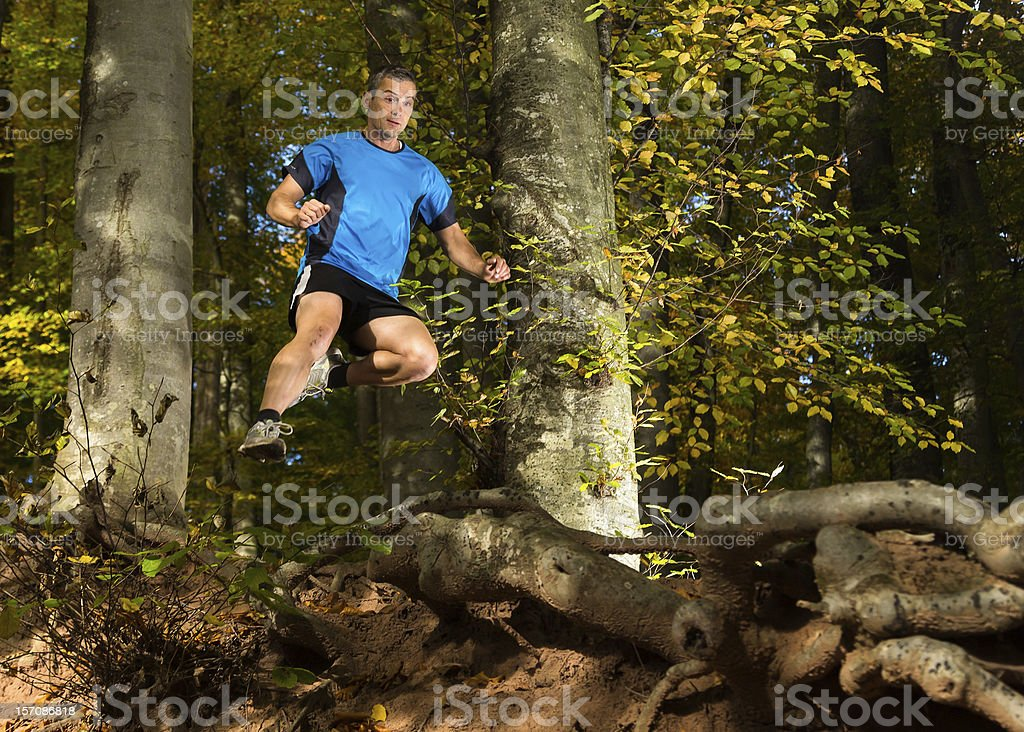 trailrunner in the forest stock photo