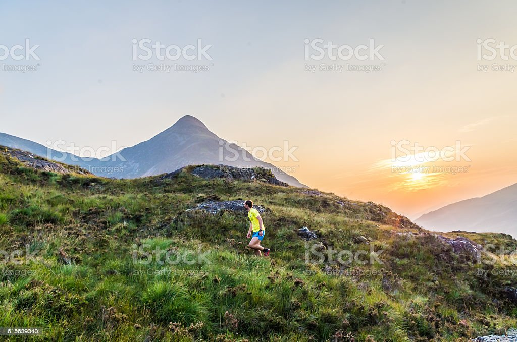 Trailrunner in the Scottish Highlands at Loch Leven, Great Brittain stock photo