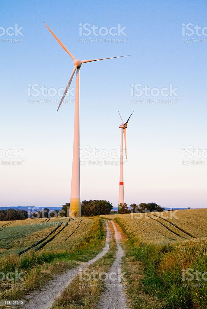 Trails to windmills royalty-free stock photo