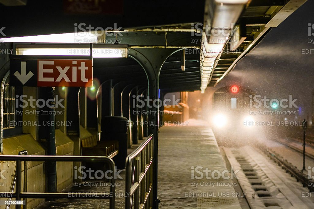 Traim on 40 st station queens during the snow storm stock photo